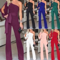Jumpsuit Wide Leg One Shoulder Long Trousers Pants