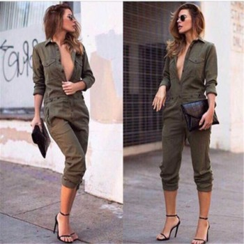 Long Sleeve Army Green Solid Casual Bodysuit Jumpsuit