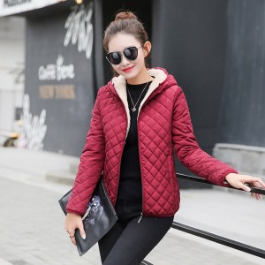Winter plus velvet lamb hooded Coats Cotton Winter Jacket Womens Outwear coat