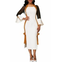 Side Slit Flare Sleeve Tie Back Dress