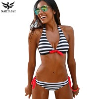 Women Swimsuit Swimwear Halter Top Plaid Brazillian Bikini Set