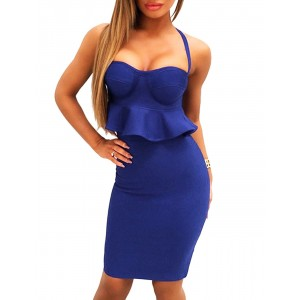 Bandage Dress Sexy 2 Pieces Sets Strap Ruffle Top With Skirt Party Dress