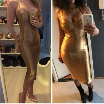 Gold Bodycon Party Dress Strapless Open Back Midi Dresses Tight Package Hips Split Back Dress