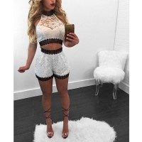 White Lace Crop Top And Shorts Set Sexy Hollow Out Lace Top Women Leisure Suit Set Shorts 2 Piece