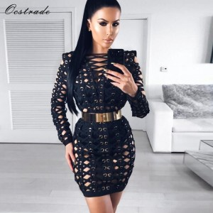 Black Bodycon Dress for Women New Sexy Fashion Metal Pieces Lattice Cross Over Vestidos Bandange Dress Long Sleeve