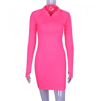 Neon Pink Green Long Sleeve Bodycon Dress Spring 2019 Zipper Stretch Casual Sexy Short Night Club Dresses