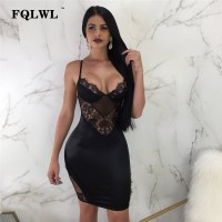 Women Lace Dress Backless Spaghetti Strap Black See Through Mini Dress