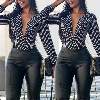 Casual Women Long Sleeve Striped Tops Shirt Autumn Ladies Turn Down Collar Deep-V Neck Tops Blouse Vintage Sexy Elegant Shirt