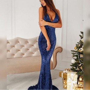 Open Back Navy Blue Sequined Maxi Dress Lining Strapless Deep V Neck Sleeveless Floor Length Mermaid Party Dress