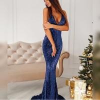 Open Back Navy Blue Sequined Maxi Dress Lining Strapless Deep V Neck  Sleeveless Floor Length Mermaid 43cdb03015a6