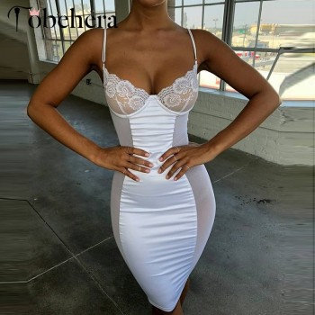 White lace mesh bodycon dress Women transparent v neck slim sundress