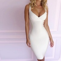 White spaghetti strap bodycon knee-length bandage dress women deep v neck