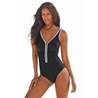 Black Sporty Swimsuit with Contrast Piping Blue