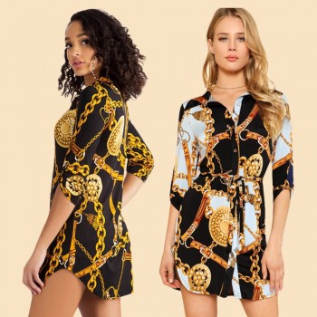 Chain Printed Straight Shirt Dress Hot Sale Streetwear Woman Turn-Down Collar Three Quarter Sleeve Mini Dress