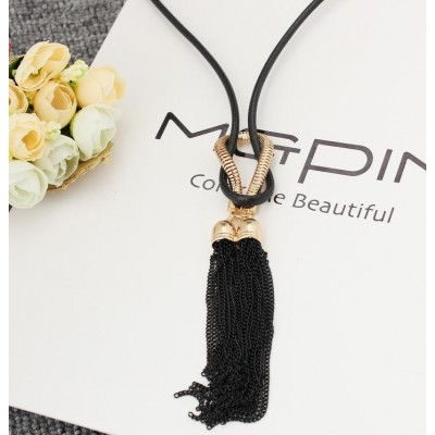 Female Pendant Necklace Tassel Long Winter Sweater Chain Necklace