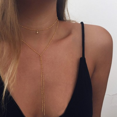 Simple Gold Silver Color Chain Choker Necklace Long Beads Tassel Chocker Necklaces For Women