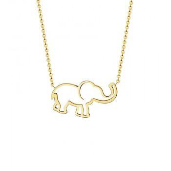 Stainless Steel Gold Chain Origami Elephant Pendant Necklaces For Women Gothic Jewelry