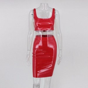 Strapless Fashion PU Leather Dress Mini Sexy Red Dress Kardashian Bodycon Party Club Dresses