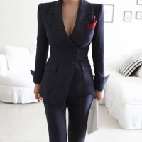 Striped Pant Suits Single Breasted Blazer Jacket and Slim Pencil Pant 2 Pieces Set Female Wear to Business Suits