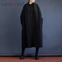 European Highest Quality Jacket Autumn Women Large Size Long Loose Black Windbreaker Long Trench Coat