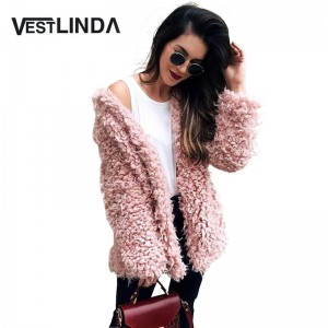 Winter Grey Wool Overcoat Warm Outerwear Women Pink Faux Fur Coat Turn Down Collar Long Sleeve Cardigan