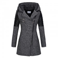 Winter Hooded Coat Autumn Zipper Slim Outerwear Spring Fashion Patchwork Black Female Warm Windproof Overcoats