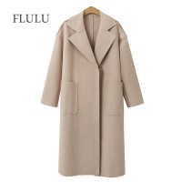 Winter Suit Blazer Women 2018 Casual Formal Wool Coat Elegant Work Office Lady Long Sleeve Blazer