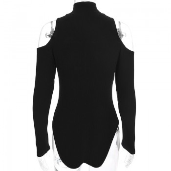 Black Long Sleeve Bodysuit Winter 2018 Elegant Turtleneck Body Femme Sexy Strapless Hollow Out