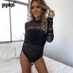 Lace Bodysuit Women Black Long Sleeve Sexy Bodysuit Ladies Hollow Out