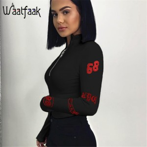 Turtleneck Long Sleeve Sexy Black Bodysuit Women Zipper Bodycon Skinny Printed White Black