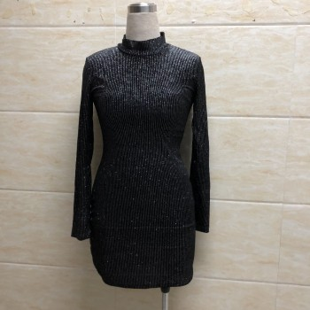 Glitter long sleeve party dress Women Diamonds shinny bodycon