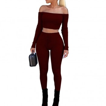 Slash neck 2 Piece Clothing Set Women Long sleeve Crop Top And Pants Suit