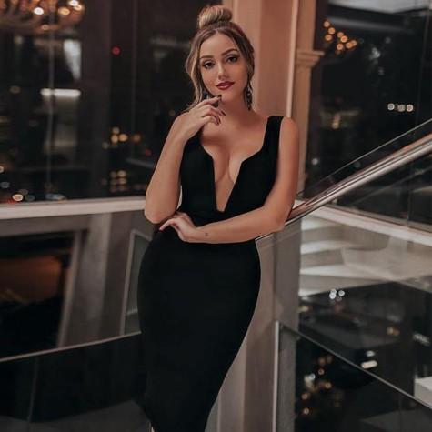1c7b55572f3 Women Red Bandage Dresses Black Tank Sexy Deep V Sleeveless Bodycon ...