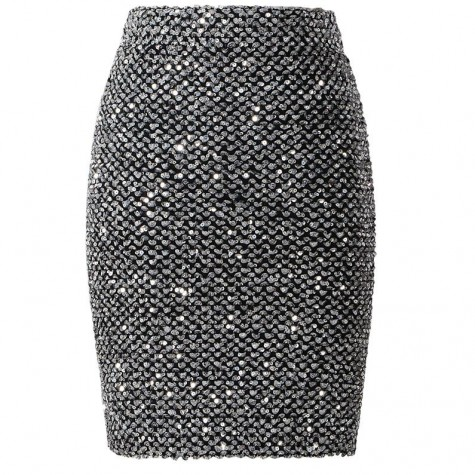 0dd84cbec51e9 Sequined Patchwork Shinny Pencil Mini Skirts High Waist Black Party ...