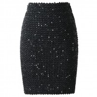 Sequined Patchwork Shinny Pencil Mini Skirts High Waist Black Party Sexy Bandage