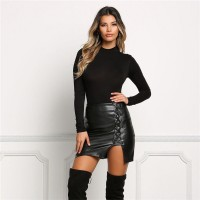 Sexy Leather Skirt New Fashion Bandage Lace Up Skirt Sexy Womens High Waist Pencil Short Mini Skirt