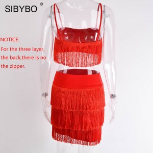 Tassel Strapless Sexy Two Pieces Set Bandage Dress Red White Summer Women Dress Elegant Mini Club Party