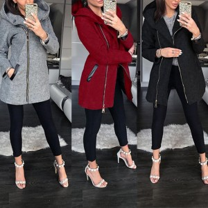 Winter Jacket Women High Collar Hooded Colorblock Zipper Long Sleeve Coat