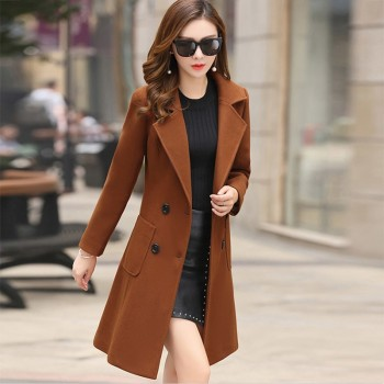 Winter Wool Coats Warm Slim Fit Fashion Casual Office Lady Blends Womans Coat