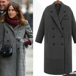 Winter Wool Long Coat Jacket Casual Double Breasted Christmas Blazer Outwear Elegant V-neck