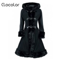 Women Black Hooded Winter Wool Coat Full Sleeve Autumn Winter Warm Female Long Cloaks