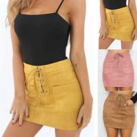 Women Leather Suede Lace Up Bandage High Waist Party Pencil Short Mini Skirt Ladies