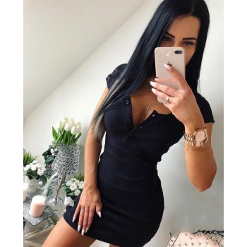 Casual Knit Sheath Mini Dresses Ladies Solid V Neck Chest Button Short Sleeve Bodycon Dress