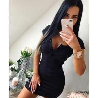 4b7a43f8582 Casual Knit Sheath Mini Dresses Ladies Solid V Neck Chest Button Short  Sleeve Bodycon Dress