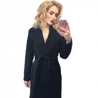 Long Women's coat lapel 2 pockets belted Jackets solid color coats Female Outerwear