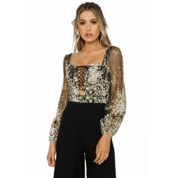 Nude Sheer Long Sleeve Princess Rhinestone Bodysuit Black
