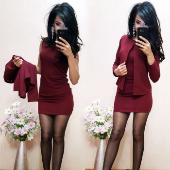 O-Neck Above Knee Mini Dress Full Sleeve Casual Coat Two Pieces