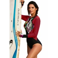 Red Floral Striped Patchwork Rashguard One-piece Swimsuit