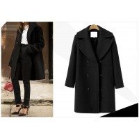 Winter Fashion women coats Casual Jackets Long Sleeve Blazer Outwear Female Elegant Wool double breasted Coat