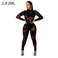 55de78ed8354 Bamboo Leaf Sheer Mesh Sexy Black Bodysuit Women Long Sleeve Perspective  Bodycon Jumpsuit Casual O Neck